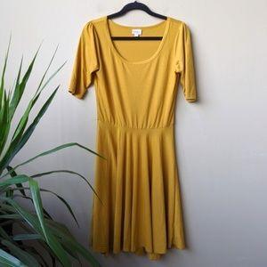 LuLaRoe Amelia Mustard Yellow Midi Dress size M